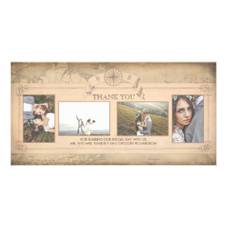 Vintage World Map Old Wedding Thank You Photo Greeting Card
