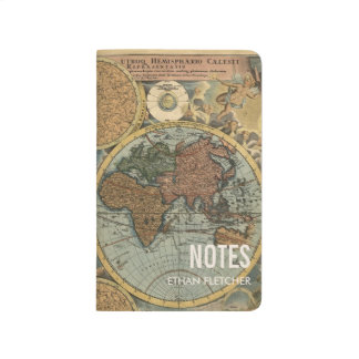Vintage World Map Personalized Note Journal