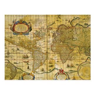 Vintage World Map Postcard