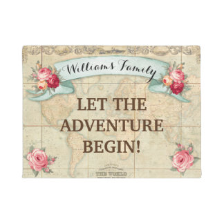 Vintage World Map Roses Customized Doormat