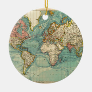 Vintage World Map Round Ceramic Ornament