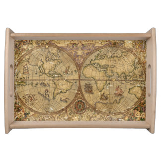 Vintage World Map Serving Tray