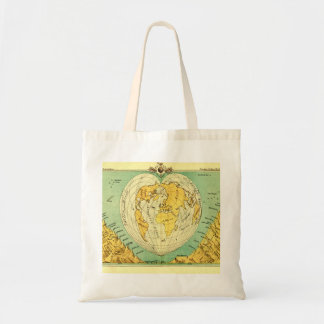 Vintage world map shaped like a heart tot bag