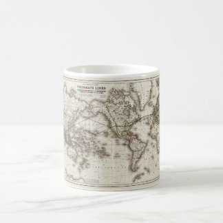 Vintage World Map Showing Telegraph Lines (1871) Coffee Mug