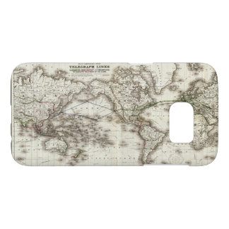 Vintage World Map Showing Telegraph Lines (1871) Samsung Galaxy S7 Case