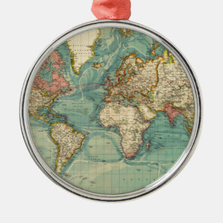 Vintage World Map Silver-Colored Round Ornament
