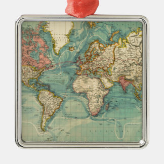 Vintage World Map Silver-Colored Square Ornament