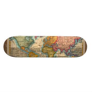Vintage World Map Custom Skate Board