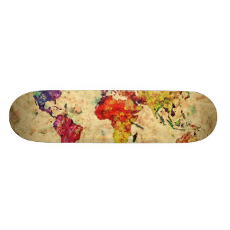 Vintage world map skate board decks