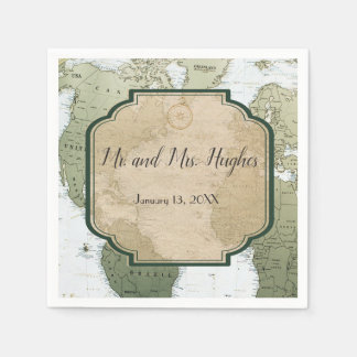 Vintage world map travel themed wedding napkin
