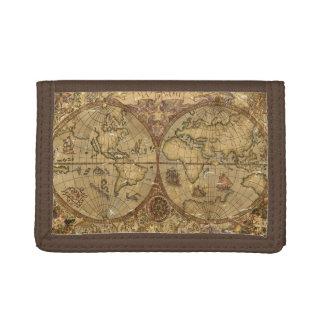 Vintage World Map Tri-fold Wallets