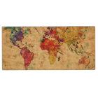 Vintage world map wood USB flash drive
