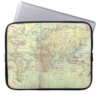 Vintage World Map Yellow Antique Laptop Sleeve