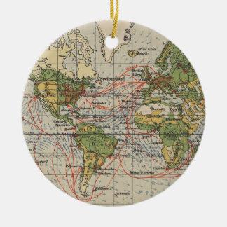 Vintage World Sailing Routes Map (1914) Ceramic Ornament