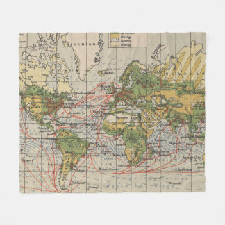 Vintage World Sailing Routes Map (1914) Fleece Blanket