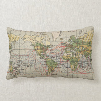 Vintage World Sailing Routes Map (1914) Lumbar Pillow