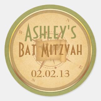 Vintage World Travel Compass Bat Mitzvah Classic Round Sticker
