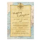 Vintage World Travel Map Wedding Invitation