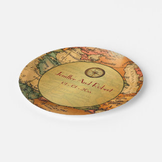 Vintage world travel themed wedding paper plates