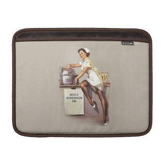Vintage World War 2 PinUp Nurse Custom Name MacBook Sleeves