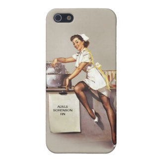 Vintage World War 2 PinUp Nurse Custom Name Retro iPhone 5 Cover
