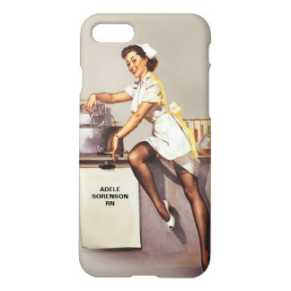 Vintage World War 2 PinUp Nurse Personalized iPhone 7 Case