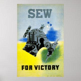 Vintage World War 2 Sew for Victory Poster