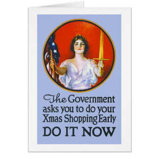 Vintage World War I Christmas Shopping Card
