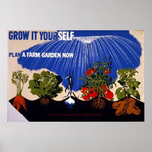 Vintage World War II Victory Garden Poster