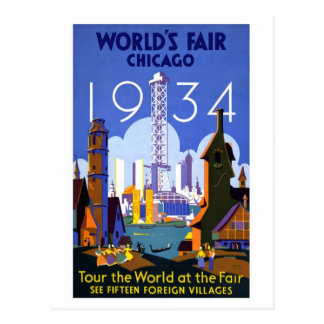 Vintage Worlds Fair Chicago 1934 Postcard