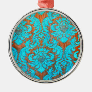 Vintage worn chic hipster damask gold light blue Silver-Colored round ornament