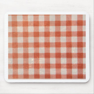 Vintage worn country red white textile pattern fun mouse pad