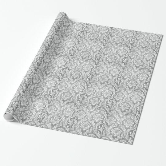 Vintage worn damask grey silver grey white chic