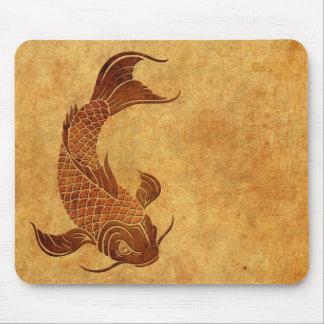 Vintage Worn Koi Fish Design Mouse Pad