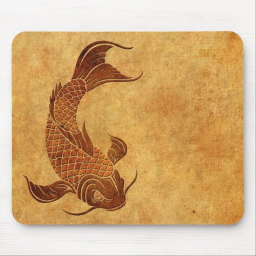 Vintage Worn Koi Fish Design Mousepad
