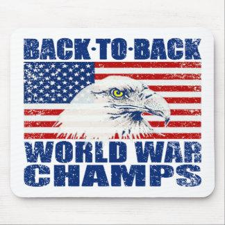 Vintage Worn World War Champs Eagle & US Flag Mouse Pad