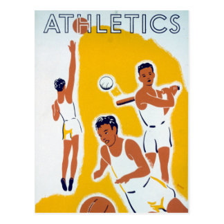 Vintage WPA Athletics Basketball Baseball Postcard