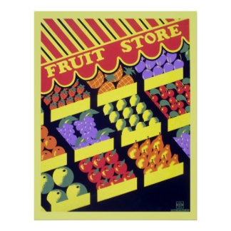 Vintage WPA Fruit Store Poster