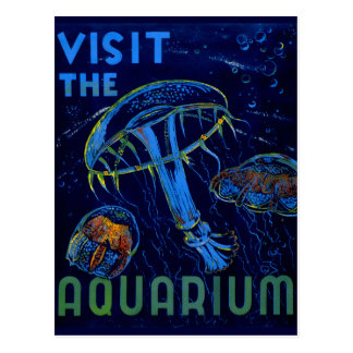 Vintage WPA Visit The Aquarium Poster Postcard