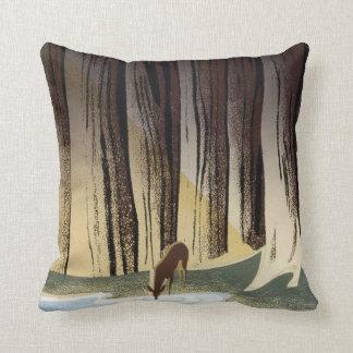 Vintage WPA Wild Life Deer National Parks Throw Pillow