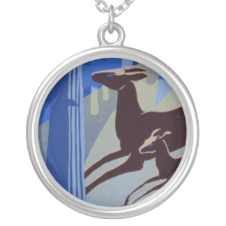 Vintage WPA Wildlife Conservation Poster Round Pendant Necklace