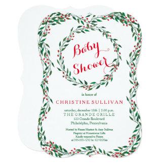 Vintage Wreath Berries Christmas Baby Shower Card