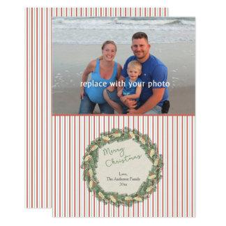 Vintage Wreath family photo christmas card