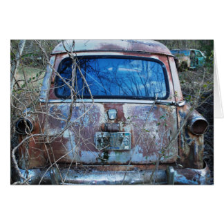 Vintage Wrecked and Rusty Car, Humor Card