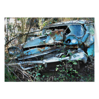 Vintage Wrecked Car in a Tree Card