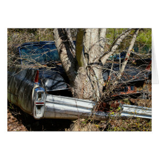 Vintage Wrecked Car Wrapped Around Tree Card
