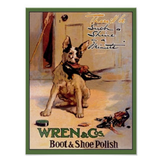 Vintage Wren & Co. Boot & Shoe Polish Ad Dog with  Posters