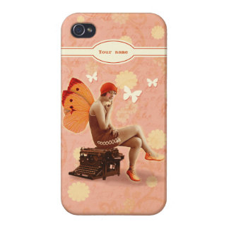 Vintage Writer Fairy with Typewriter iPhone 4 Covers