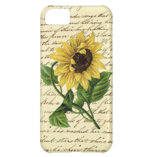 Vintage Writing Literary Chic Dandy Sunflower Cover For iPhone 5C