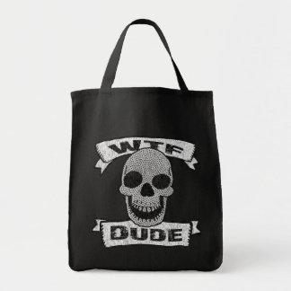 Vintage WTF Dude Skull Tote Bag